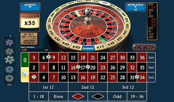An in-game image of 1000 Diamond Bet Roulette from Playtech.