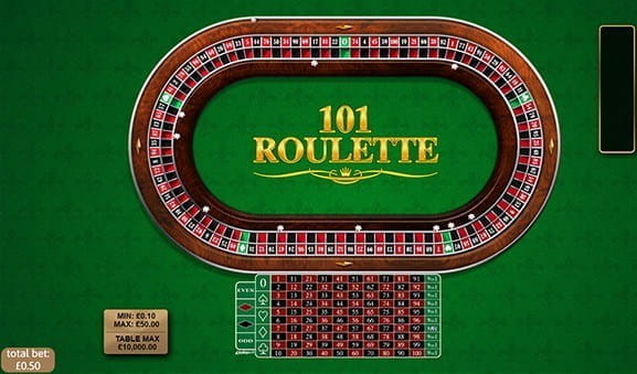 An in-game image of the 101 Roulette Game from Playtech.