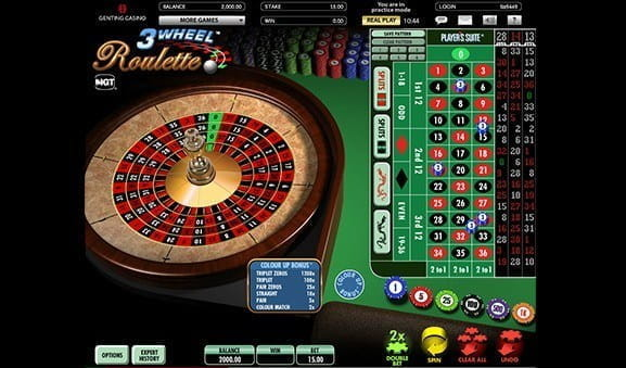 An in-game image of 3 Wheel Roulette.