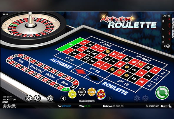 Demo version of the Alphabet Roulette casino game.