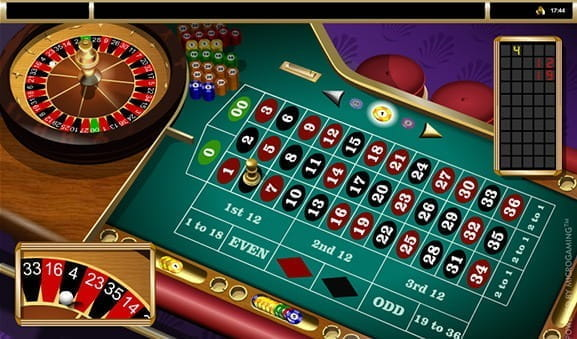 Image showing in-game play of Microgaming's American Roulette.