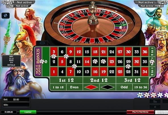 Cover image for a free embedded game of Age of the Gods Roulette, with various bets placed on the table.