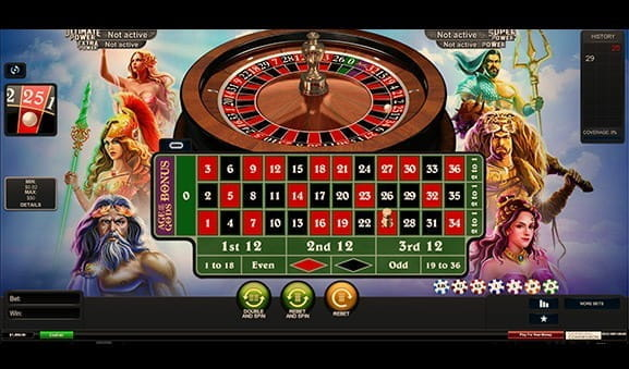 An in-game image of Age of the Gods Roulette, with the ball landing on 25, red..