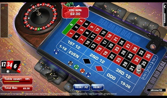 An in-game image of Deal or No Deal Roulette, after a win.