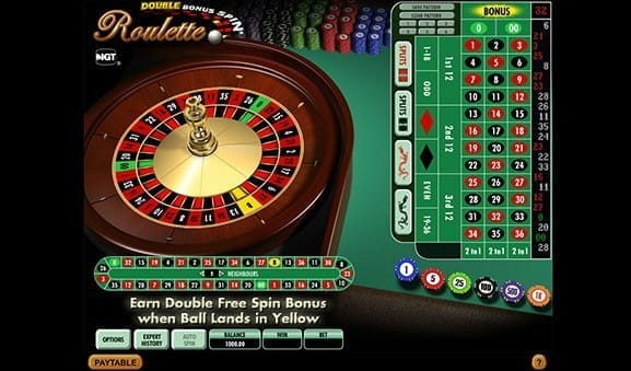 An in-game image of Double Bonus Spin Roulette from IGT.