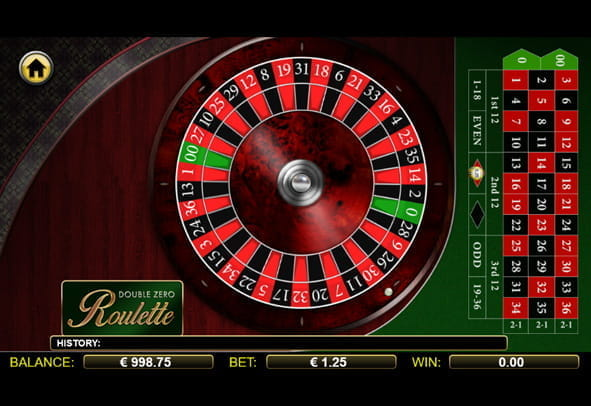 A demo version of Double Zero Roulette.