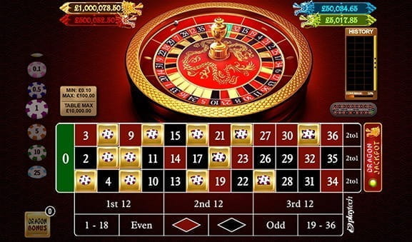 An in-game image of the Dragon Jackpot Roulette Game from Playtech