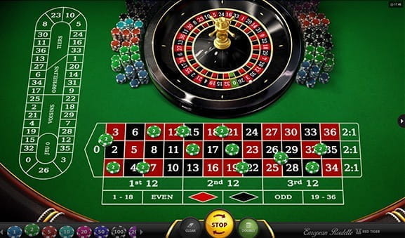 An in-game image of European Roulette game from Red Tiger gaming