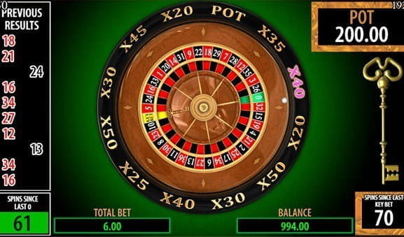 In-game image of Key Bet Roulette game from Scientific Games.