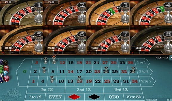 An in-game image of Multi Wheel European Roulette Gold from Microgaming.