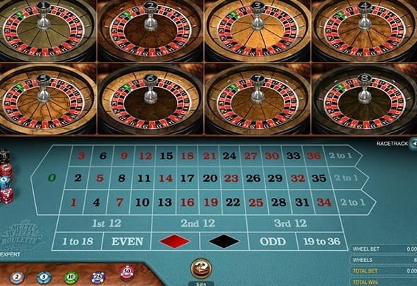 A demo of the Multi Wheel European Roulette Gold game from Microgaming.