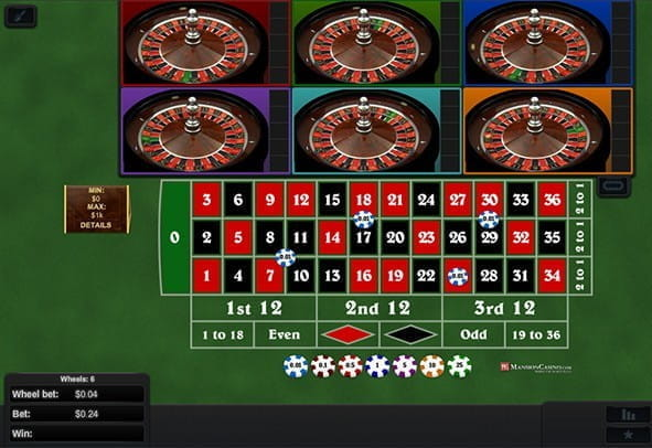 Cover image for a free embedded game of Multi Wheel Roulette, with all six wheels active.