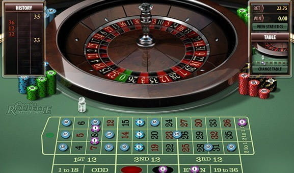 An in-game image of Premier Roulette Diamond Edition from Microgaming.