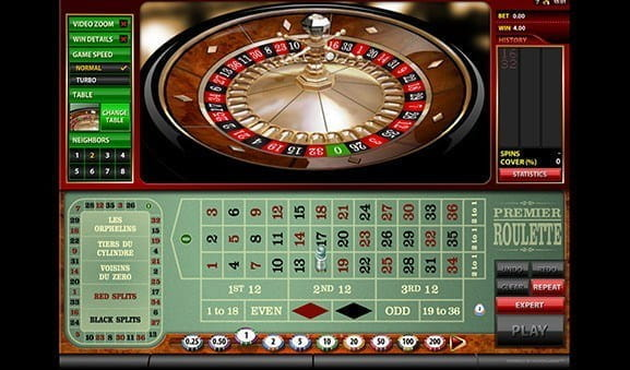 An in-game image of Premier Roulette from Microgaming.