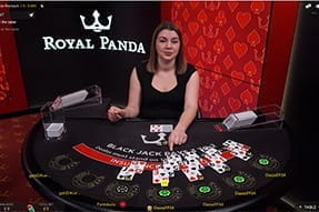 A game of blackjack live at Royal Panda.