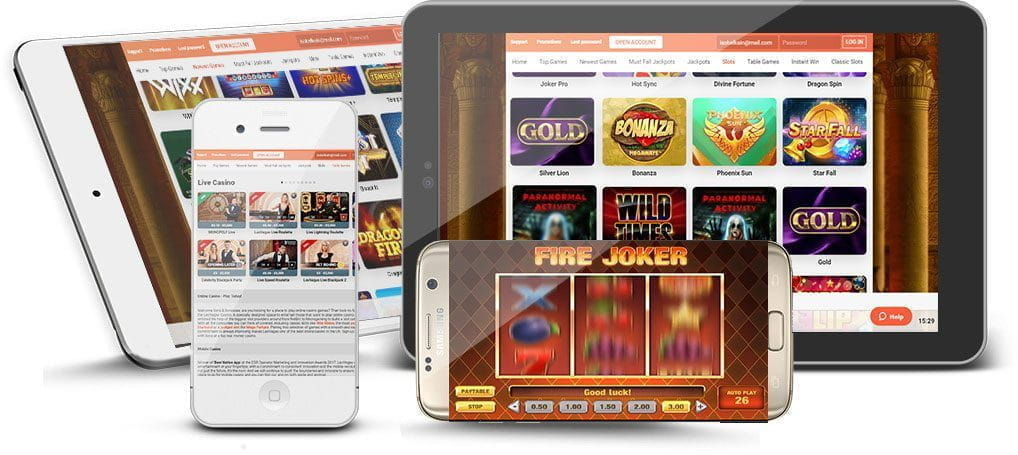 A smartphone and tablet device showing a selection of slot games