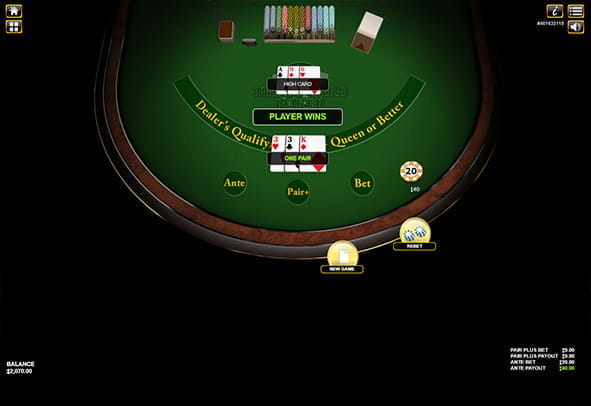 A winning hand in 3 Card Poker online