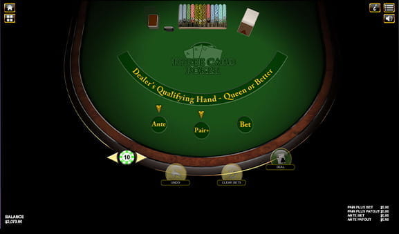 The 3 Card Poker game at an online casino