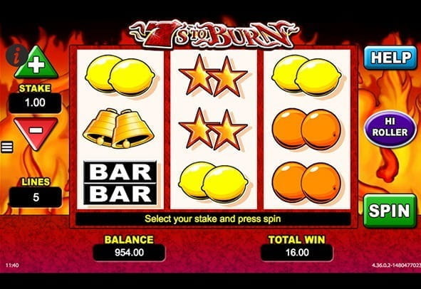 The rows and reels of the 7s to Burn slot from SG Interactive