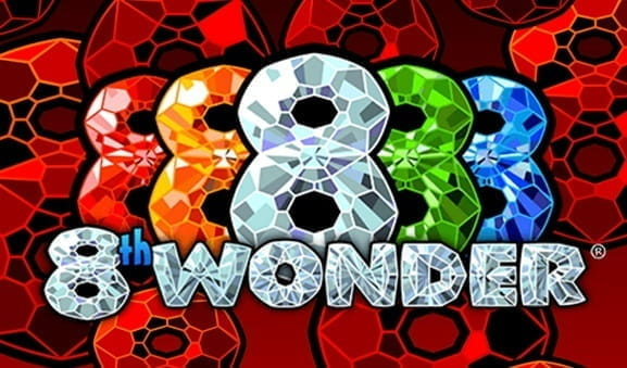 Logo of the colourful online slot 8th Wonder from Realistic Games