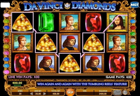 Free play version of the slot da vinci diamonds