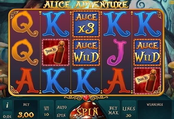 Game reels in action in the Alice Adventure slot from iSoftBet.