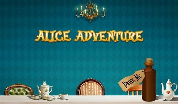 Logo of the Alice Adventure slot from iSoftBet with items inspired by the classic tale