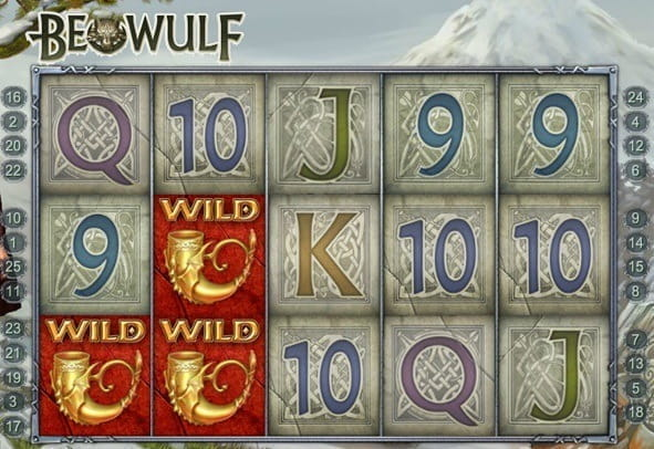 In-game action from the Beowulf slot from Quickspin.
