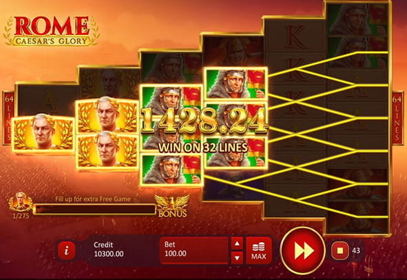 Rome: Caesar's Glory online slot in-game action.