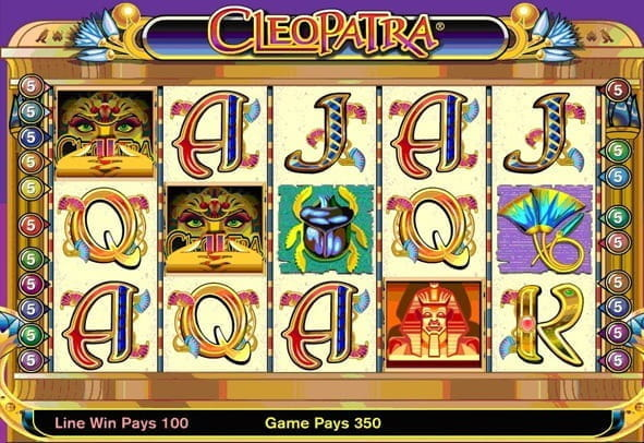 An in-game still of the Cleopatra slot game from IGT