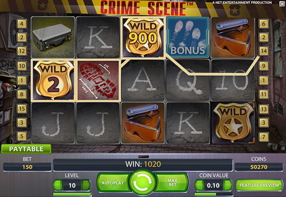 The Reels during the free demo version of Crime Scene online slot.