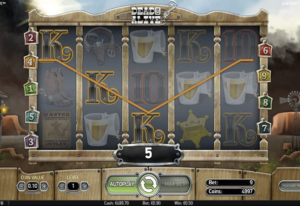 In-game view of the Dead or Alive slot.