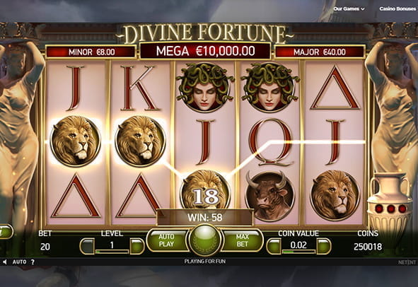 In-game view of Divine Fortune slot, showing a winning payline