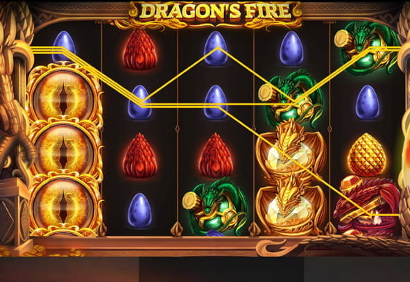A look at Dragon's Fire slot during a game.