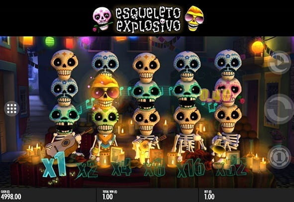 The mariachi characters from Thunderkick slot, Esqueleto Explosivo, sing a tune on a matching spin.