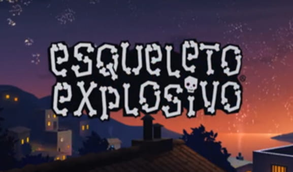 Screenshot of a village at night, including the logo of Esqueleto Explosivo by Thunderkick