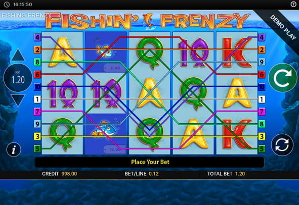 Fishin' Frenzy online slot free spins with swimming fish symbols.