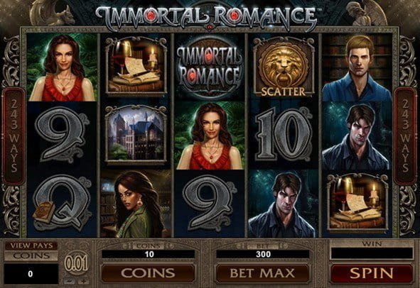An in-game image showing the Immortal Romance slot from Microgaming