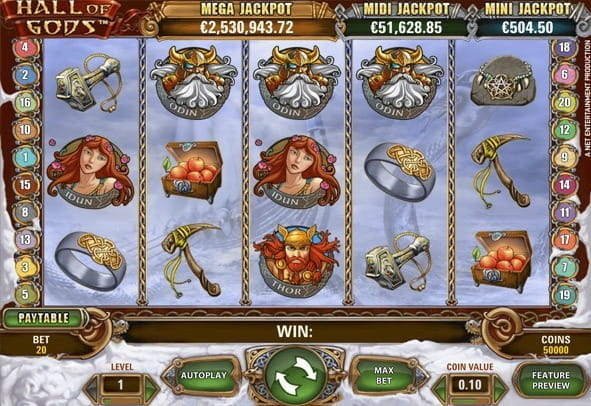 Demo player for Hall of Gods from NetEnt - spin with free money
