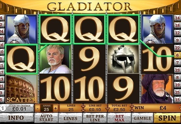 In-game screenshot of the Gladiator slot from Playtech