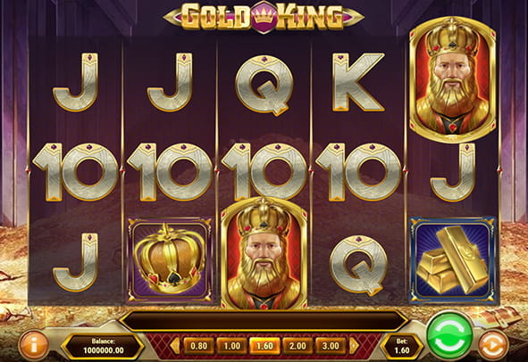 The Gold King demo game rows and reels.