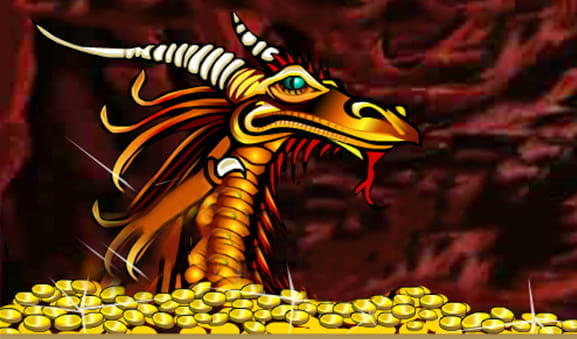 The opening screen of the Golden Dragon slot from Microgaming, showing a dragon and a pile of golden coins.