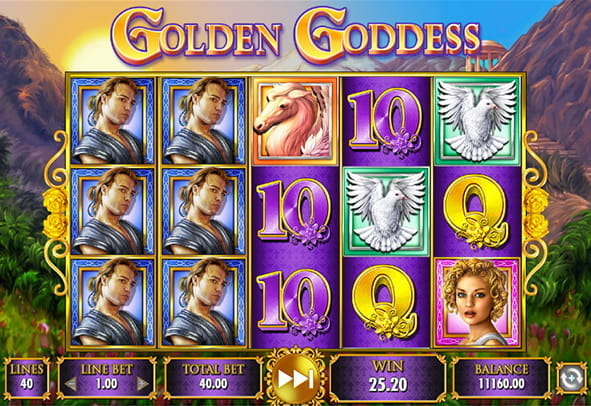 In-game view of the Golden Goddess online slot