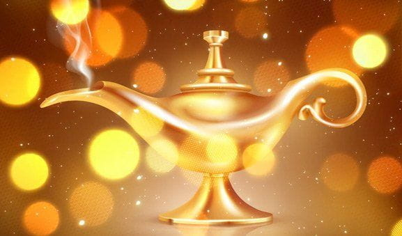 The magic lamp from the Millionaire Genie slot game