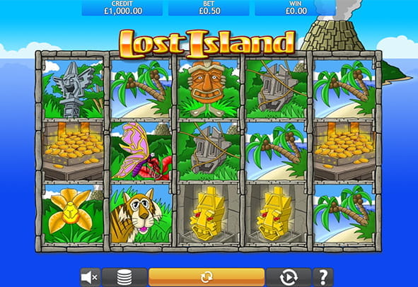 The Lost Island demo game rows and reels.