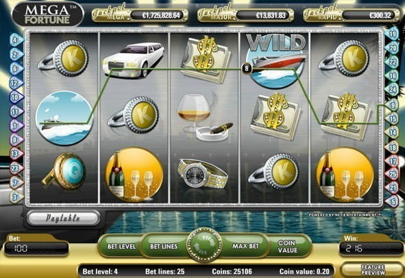 In-game view of NetEnt video slot - play Mega Fortune for free