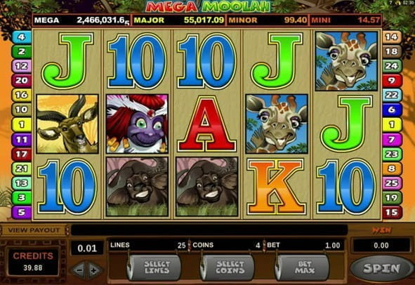The Mega Moolah jackpot slot from Microgaming.