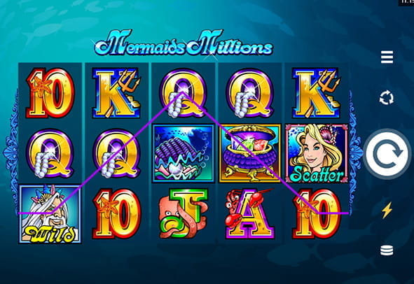 In-game view of the Mermaids Millions online slot