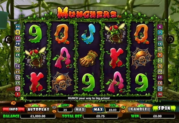 In-game action from the Munchers online slot game.