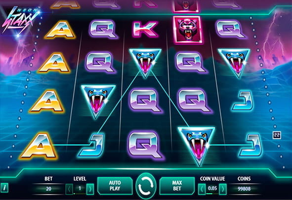In-game view of Neon Staxx online slot